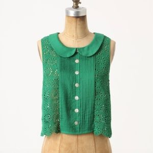 Anthropologie Tracy Reese kelly green blouse S